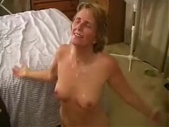 White Cuckold Wife Kneels For Facial From Black Cock