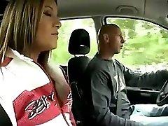 Teen In White Panties Fucks Old Man In The Car