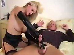 Blonde MILF Wearing Latex Gloves Big Cock Handjob