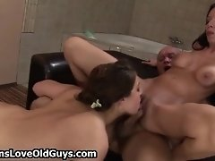 Grey Old Man Loves Fucking Two Tight Teen Pussies Hard