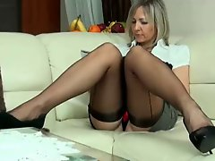 Milf Ala In Seamed Stockings And High Heels