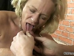 Dirty Old Slut Goes Crazy Sucking On A Cock And Getting