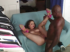 Beautiful Girl Masturbates With A Dildo Before Black Cock Fuck