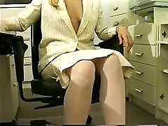 Blonde Secretary In Glasses Masturbates Alone In The Office