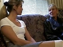 Horny Older Lady Gets Her Large Tits Sucked By Younger Girl