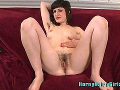 Hairy Babe Stacy Stax Masturbating With Big Black Dildo