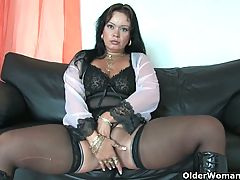 Sleazy Moms In Corset And Stockings Having Solo Sex