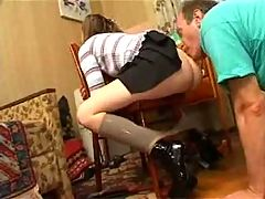 Young Mistress And His Slave Pussy Eating