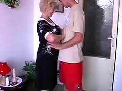 Smily Granny With Flabby Body And Guy