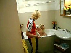 Mature Blonde And Young Blonde Have Fun In The Bath Tub