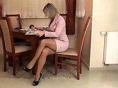 Sensual Lady In Brown Pantyhose