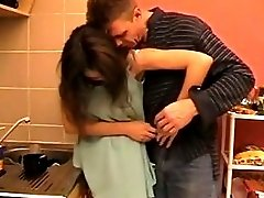 Sex With Young In The Kitchen Cums On His Chest