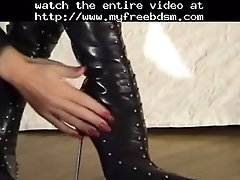 Boot Worship In Straight Jacket BDSM Bondage Slave Femd