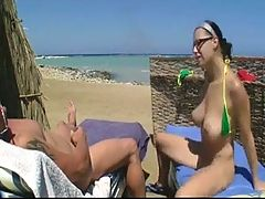 Nude Beach Hot Pierced Big Boob Brunette Blowjob