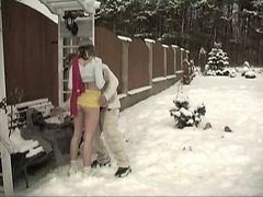 Teen Lovers Fuck After Snow Ball Fight