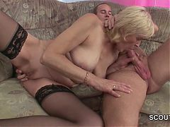 Grandson Seduce Blonde Granny To Fuck And Cum