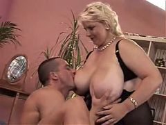 Older Blond BBW And A Guy