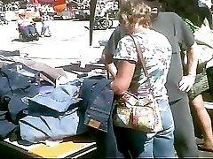 Upskirted This MILF At The Flea Market Black Panties