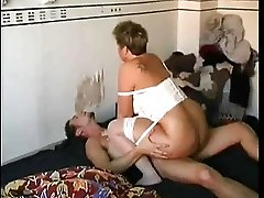 Mature BBW Takes A Young Cock In Her Ass