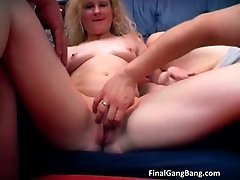 Hot Blonde MILF Gets A Gangbang Of Her Life As She Suck