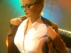 Big Tits Hottie In Glasses Nylons Gets Heated Up Starts Masturbating