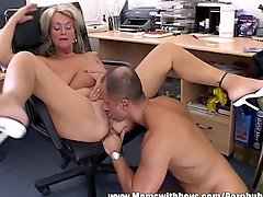 Mature Blonde Executive Fucks Her Buff Applicant