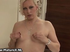 Naturally Horny Mature Blonde Loves To Play With Her Fi