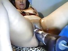 Horny Latina Cumming On Fucking Machine