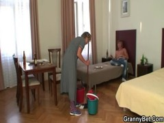 Cleaning Granny Gives Up Her Old Pussy