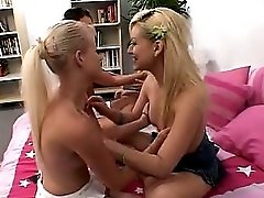 Naughty Blonde Twins Having Fun With 2 Girlfriends