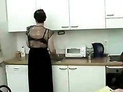 Hot Mom And Boy In The Kitchen