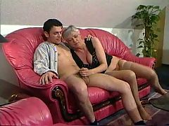 Grey Haired Granny In Stockings Fucks The Boy